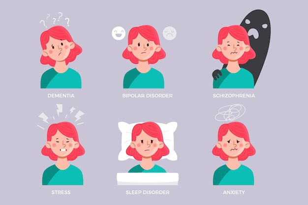 メンタルヘルスに問題のある人のイラスト