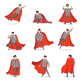 빨간 망토와 기업인과 경제인 슈퍼 히어로 세트의 삽화
