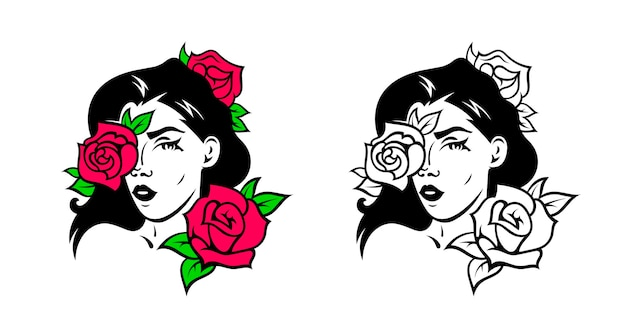バラを持つ少女の顔のイラスト