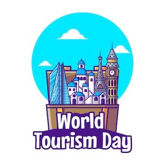 世界観光の日のイラスト。世界観光の日、建物とランドマークのアイコンの概念