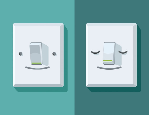 Illustrations of a on and off switch with face