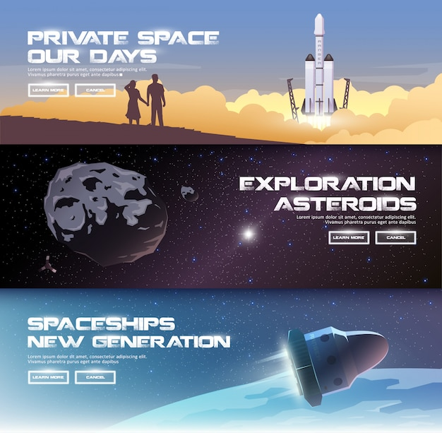 テーマのイラスト:天文学、宇宙飛行、宇宙探査、植民地化、宇宙技術。 webバナー。プライベートスペース。小惑星。新世代の宇宙船。