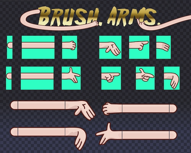 Illustrations pack of cartoon hands in various gestures. set of human hands with different gestures collection for design, animation,