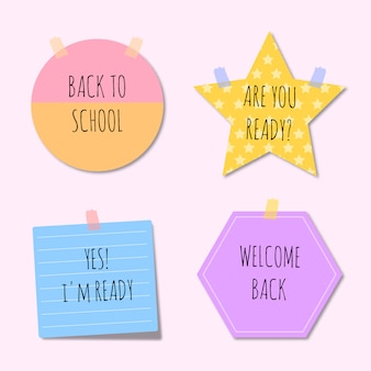 Illustrations paper notes back to school template