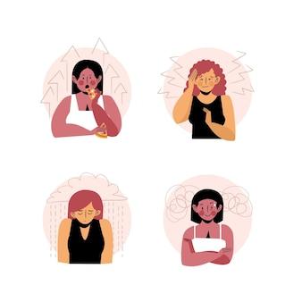 Illustrazioni di persone con problemi di salute mentale