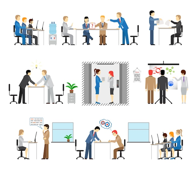 Illustrations of people working in an office with groups in meetings