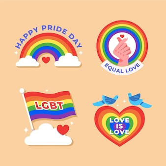Illustrations pride day badges pack