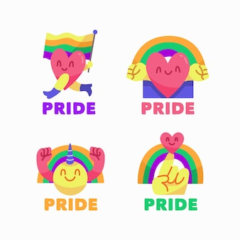 Illustrations pride day labels collection