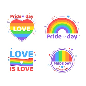 Illustrations pride day labels pack