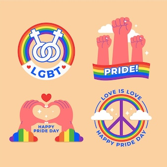 Illustrations pride day labels set