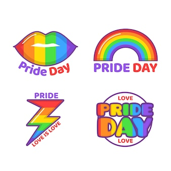 Illustrations pride day labels