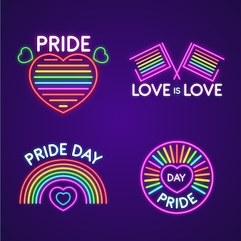 Illustrations pride day neon signs collection