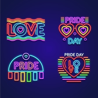 Illustrations pride day neon signs pack
