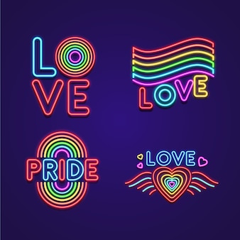 Illustrations pride day neon signs set