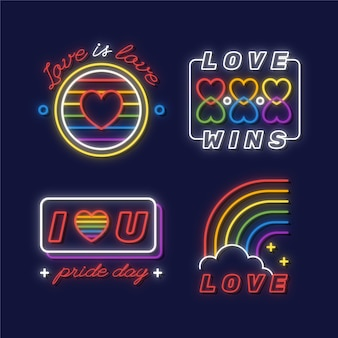 Illustrations pride day neon signs