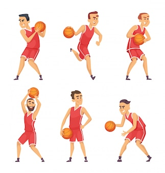 Illustrations set of basketball players
