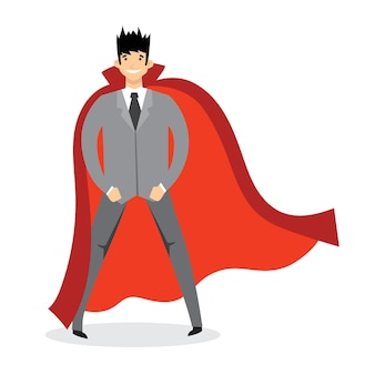 Illustrations of set of businessmen and businesswomen superheroes with the red cloak