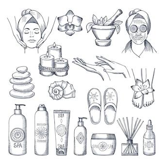 스파 살롱에 대한 삽화를 설정합니다. 양초, 기름과 돌, 물 요법. 웰빙을위한 뷰티 테라피 및 스파 휴식