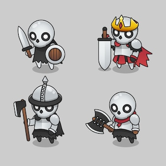 Set di illustrazioni di monster melee skeleton