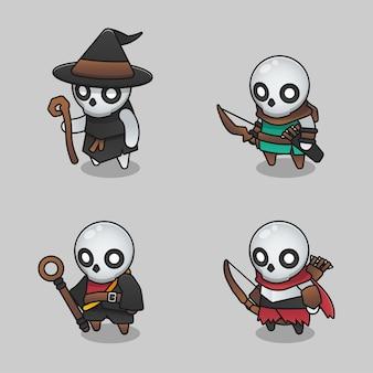 Set di illustrazioni di scheletro di gamma di mostri