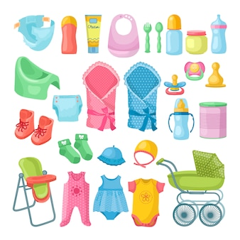 Illustrations set of newborn stuff