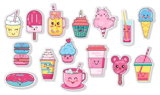Иллюстрации набор продуктов питания и напитков. каваи, изолированные на белом для поздравительной открытки