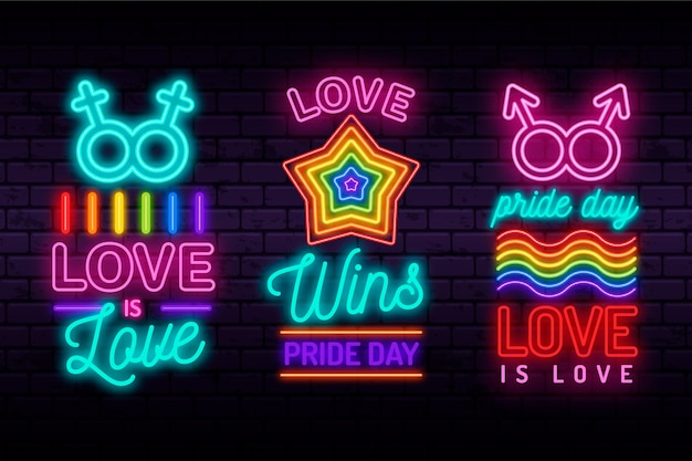 Illustrations set pride day neon signs