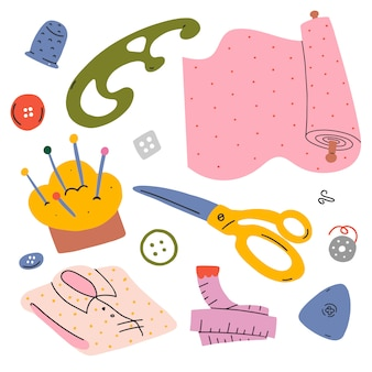 Illustrations set for sewing and clothes