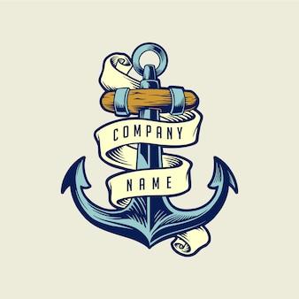 Illustrations ship anchor vintage with ribbon