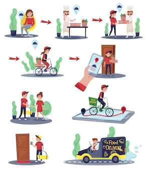 Illustrations showing customer order and delivery process. delivery workers doing their work. food service