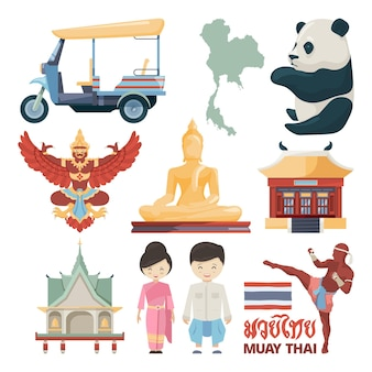 Illustrations of traditional landmarks of thailand with muay thai text.