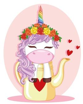 Иллюстрации, единорог с цветами роз в чайнике