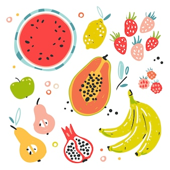 Illustrations of various kinds of fruits