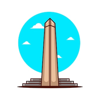 Illustrations of washington monument. world tourism day, building and landmark icon concept