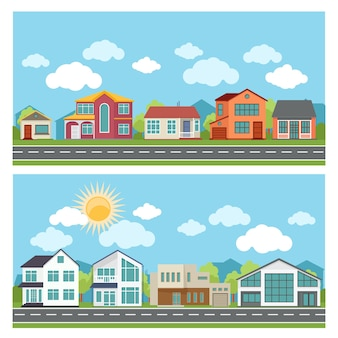 Illustrations with cottage houses in flat design style.