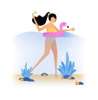 Illustrations of woman swimming in sea using a pink flamingo float try vacationing on beach