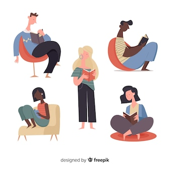 Illustrations of young people reading collection