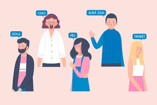 Illustrations young people talking in different languages collection