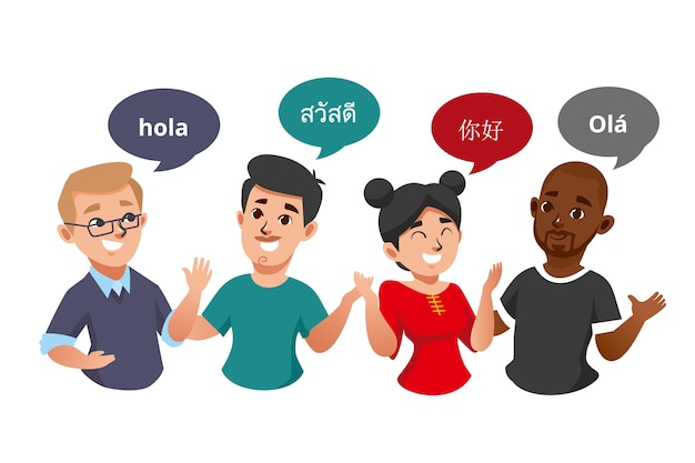 Illustrations of young people talking in different languages pack