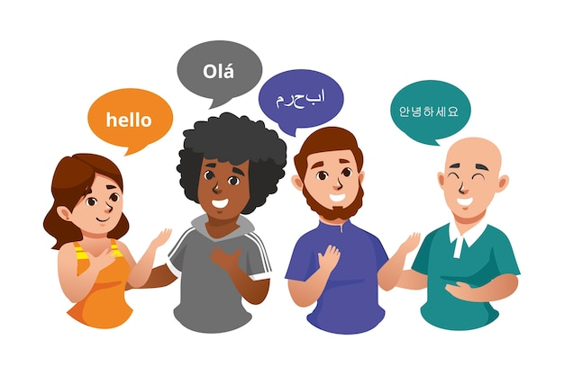 Illustrations of young people talking in different languages set