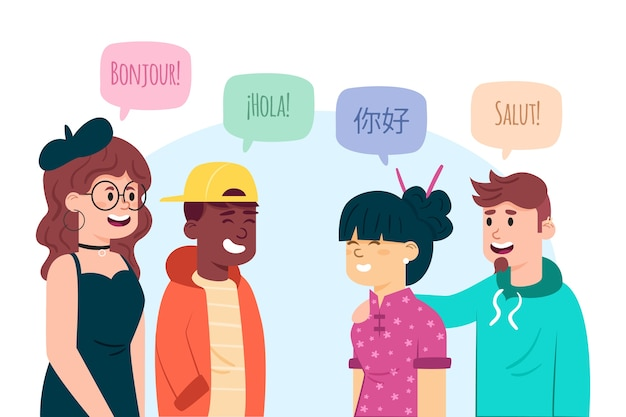 Illustrations of young people talking in different languages