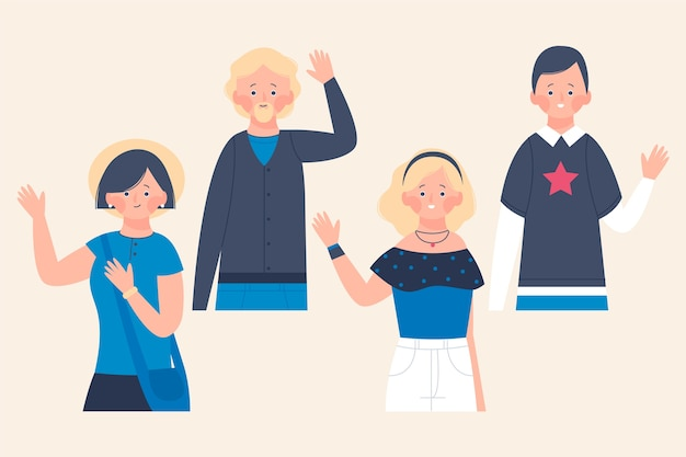 Illustrations of young people waving hand collection
