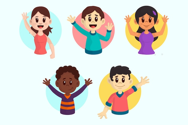 Illustrations of young people waving hand pack