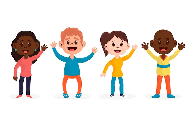 Illustrations of young people waving hand set