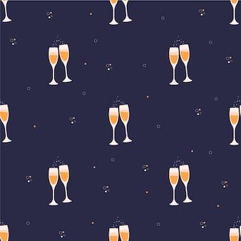 イラストライラックの背景にシャンパン2杯クリスマスと新年のデザイン