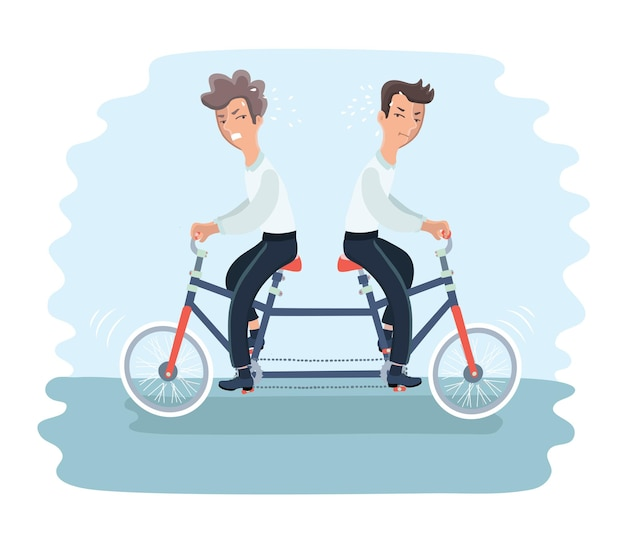 다른 방향으로 탠덤 자전거를 타는 두 명의 화난 남자의 삽화
