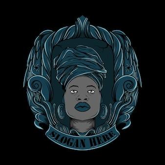 アフリカからのイラスト部族の女性