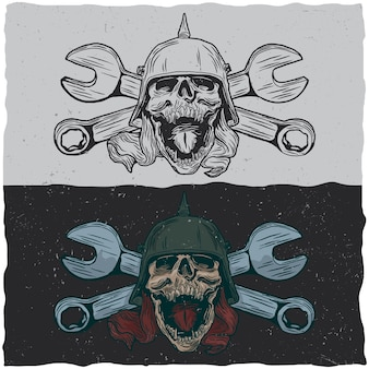 Illustraton of skulls with helmet and wrenchs