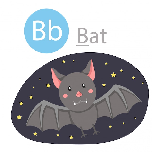 Illustrator of b for bat animal