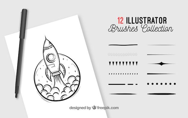 Collezione di pennelli di illustrator
